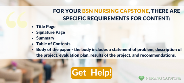 writing capstone project nursing bsn